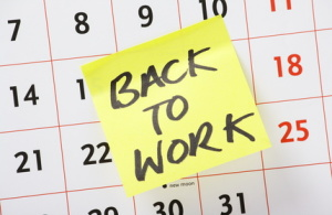 Back to Work reminder on a wall calendar